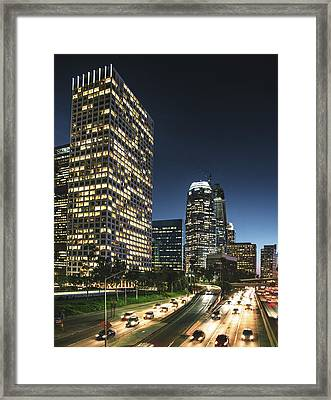 The Los Angeles Downtown Skyline On The Framed Print by Franckreporter