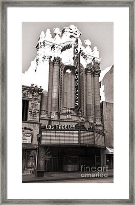 The Los Angeles Theatre - Black And White Framed Print by Gregory Dyer