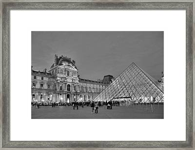 The Louvre Black And White Framed Print