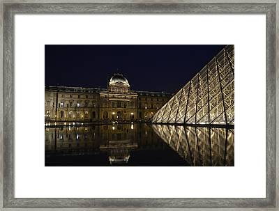 The Louvre Palace And The Pyramid At Night Framed Print by RicardMN Photography