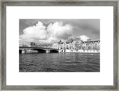 The Louvre Palace Overlooking The River Seine Framed Print