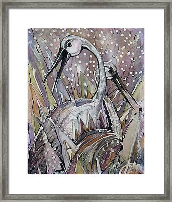 The Love Dance Of Ibises Framed Print by Deyana Deco