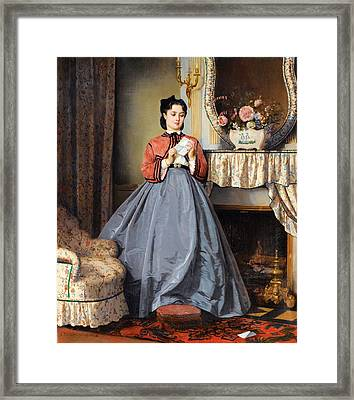 The Love Letter Framed Print by Auguste Toulmouche