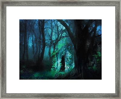 The Lovers Cottage By Night Framed Print by Georgiana Romanovna