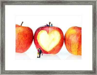 The Lovers In Valentine's Day Little People On Food Framed Print by Paul Ge