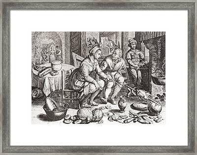 The Loving Couple, After A 15th Century Engraving By J. Matham. From Illustrierte Sittengeschichte Framed Print by Bridgeman Images