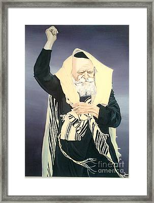 The Lubavitcher Rebbe Farbrengs Framed Print by Elana Cohen