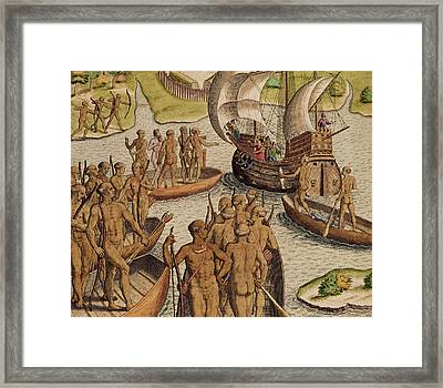 The Lusitanians Send A Second Boat Towards Me, From Americae Tertia Pars Framed Print by Theodore de Bry