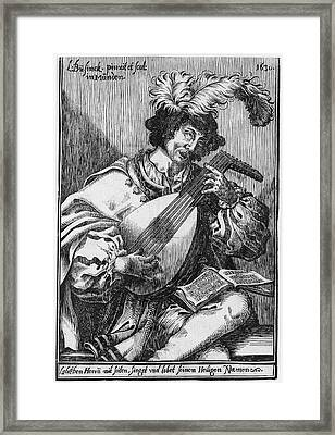 The Lute Player, Ludwig Bsinck Framed Print by Ludwig B?sinck