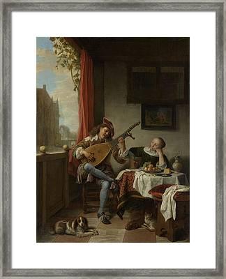 The Lutenist, Hendrick Martensz Framed Print