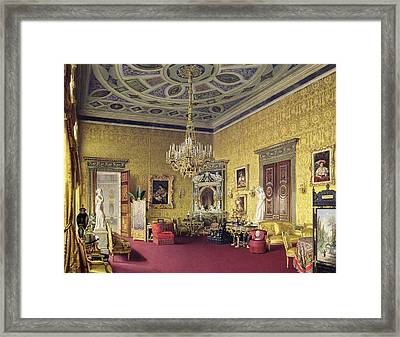 The Lyons Hall In The Catherine Palace At Tsarskoye Selo, 1859 Wc On Paper Framed Print