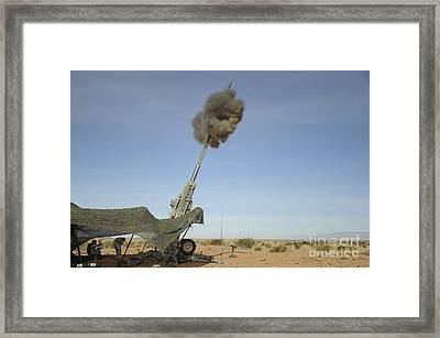 The M982 Excalibur 155mm Round Leaves Framed Print