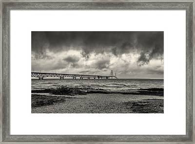 The Mackinac Bridge B W Framed Print