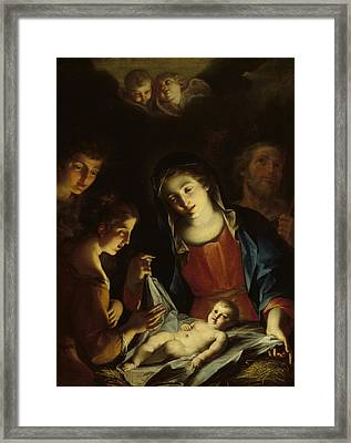 The Madonna Adoring The Infant Christ Framed Print by Pietro Antonio Rotari