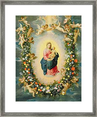 The Madonna And Child In A Floral Garland Framed Print