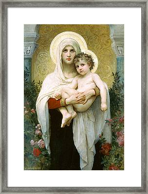 The Madonna Of The Roses Framed Print by William-Adolphe Bouguereau