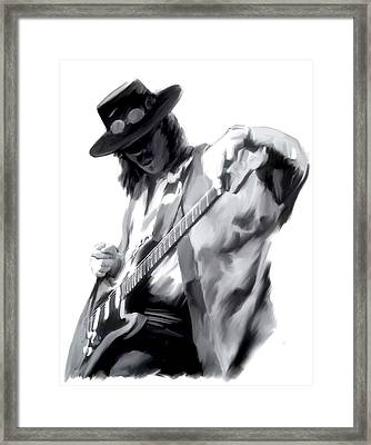 The Maestro   Stevie Ray Vaughan Framed Print by Iconic Images Art Gallery David Pucciarelli