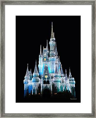 The Magic Kingdom Castle In Frosty Light Blue Walt Disney World Framed Print