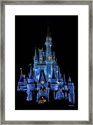 The Magic Kingdom Castle In Very Deep Blue Walt Disney World Fl Framed Print by Thomas Woolworth
