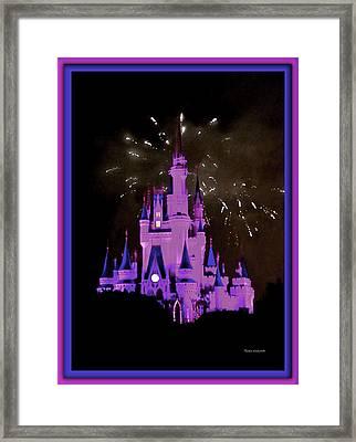 The Magic Kingdom Castle In Violet Walt Disney World Fl Framed Print by Thomas Woolworth