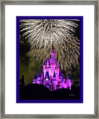 The Magic Kingdom Castle In Violet With Fireworks Walt Disney World Fl Framed Print