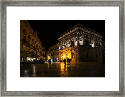 Framed Print featuring the photograph The Magical Duomo Square In Ortygia Syracuse Sicily by Georgia Mizuleva