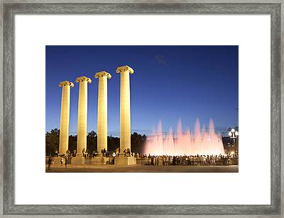 The Magical Fountain In Barcelona Framed Print by Javier Fores