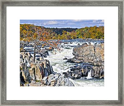 The Magnificent Autumn Waterfall Framed Print by Leslie Cruz
