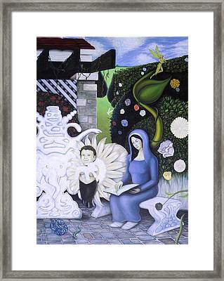 The Maiden And The Faun In The Garden Framed Print