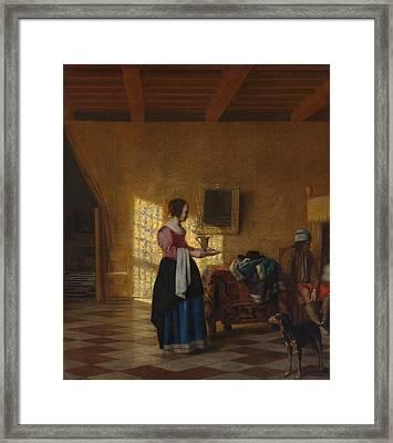 The Maidservant Framed Print by Pieter de Hooch