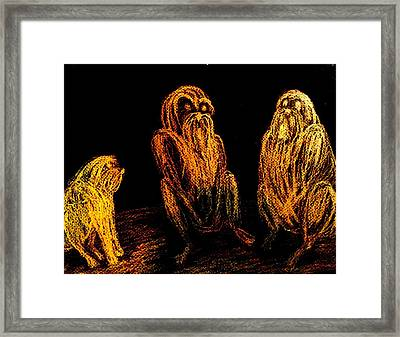 The Wise Man In The Middle Of The Group  Framed Print