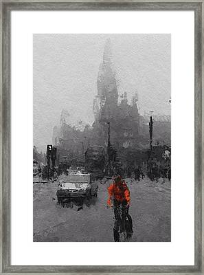 The Man On The Bicycle Framed Print