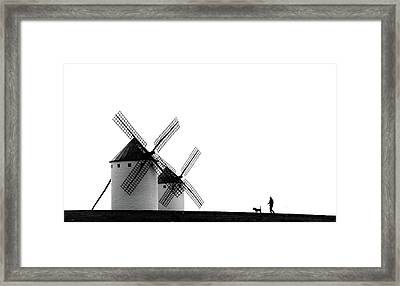 The Man, The Dog And The Windmills Framed Print