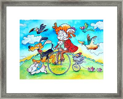 The Man Who Wore His Cat As A Hat Pen & Ink And Wc On Paper Framed Print