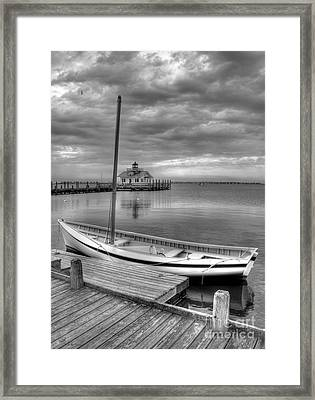 The Manteo Waterfront 2bw Framed Print by Mel Steinhauer