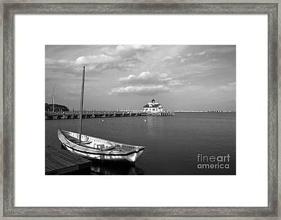 The Manteo Waterfront Bw Framed Print by Mel Steinhauer