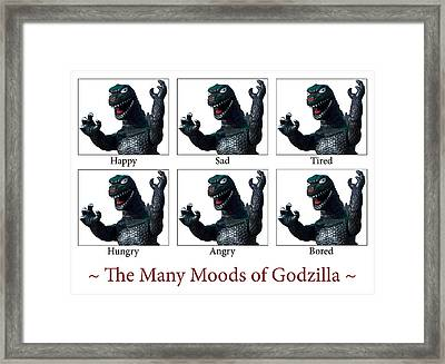 The Many Moods Of Godzilla Framed Print by William Patrick