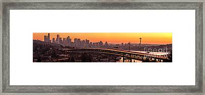 The Many Shades Of Seattle Sunset Framed Print by Mike Reid