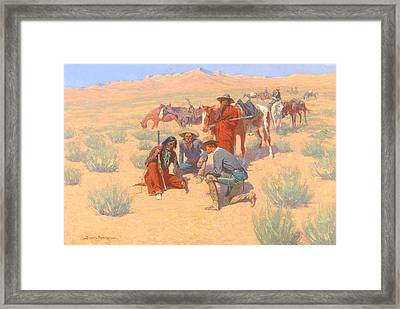 The Map In The Sand, 1905  Framed Print by Frederic Remington
