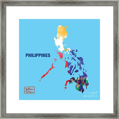 The Map Of Philippines Framed Print by To-Tam Gerwe