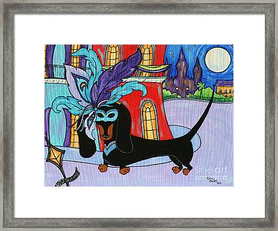 The Mardi Gras Dachshund Framed Print by Melanie Douthit