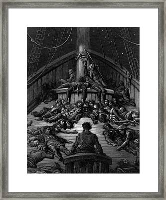 The Mariner Gazes On His Dead Companions And Laments The Curse Of His Survival While All His Fellow  Framed Print by Gustave Dore