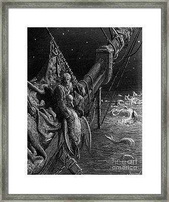 The Mariner Gazes On The Serpents In The Ocean Framed Print by Gustave Dore