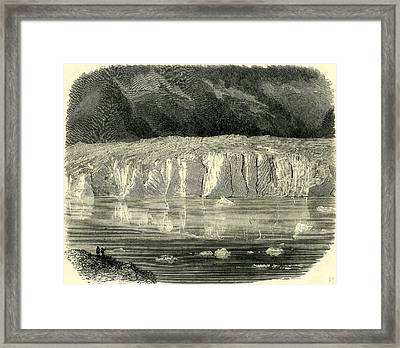 The Marjelen Lake And Ice-cliffs Of The Aletsch Glacier Framed Print