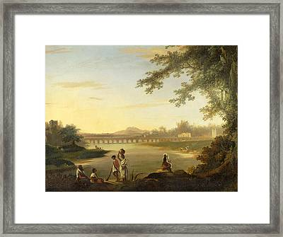 The Marmalong Bridge With A Sepoy And Natives In The Foreground Framed Print by William Hodges