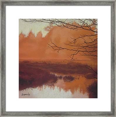 The Marsh Before The Sun Breaks Framed Print by Harvey Rogosin