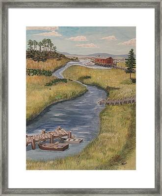 Framed Print featuring the painting The Marshes by Hilda and Jose Garrancho