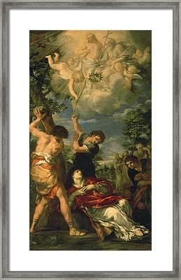 The Martyrdom Of Saint Stephen, 1660 Oil On Canvas Framed Print by Pietro da Cortona