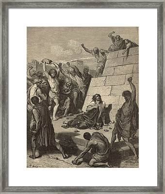 The Martyrdom Of St. Stephen Framed Print by Antique Engravings