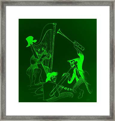 The Marx Brothers Green Framed Print by Rob Hans